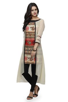 Buy Multi Color Printed High Low Kurta • Ojjasvi