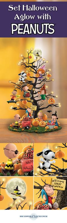 """Decorate your Halloween home with all of your favorite PEANUTS characters. This limited-edition tabletop tree showcases Charlie Brown, Snoopy, Woodstock and the whole gang, along with glowing LED lights, """"flying"""" bats and Jack-o-Lanterns. Peanuts Halloween, Casa Halloween, Halloween Trees, Holidays Halloween, Halloween Crafts, Happy Halloween, Halloween Decorations, Peanuts Christmas, Halloween Town"""