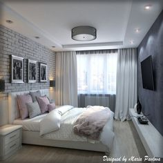 Квартира для молодой пары. Спальня Small Space Interior Design, Home Room Design, Interior Design Living Room, Small Room Bedroom, Home Bedroom, Bedroom Decor, Bedroom False Ceiling Design, Elegant Home Decor, Suites