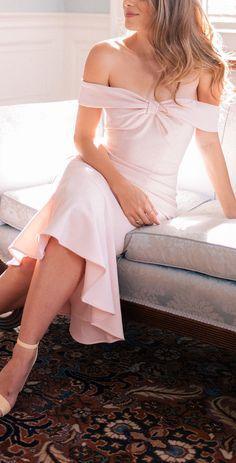 Blush off shoulder midi dress
