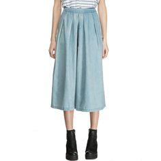 2016 Summer Vintage Denim Calf-Length Pants Women Casual Loose Wide Leg Pants High Waist Pleated Trousers Blue