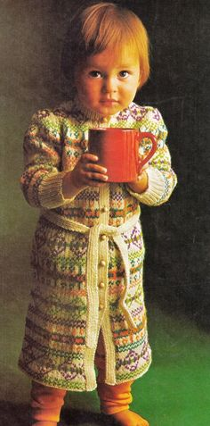 VINTaGE FaIR ISLE BaBIES DRESSING GoWN WiTH by Crafting4Ever2013, $3.00