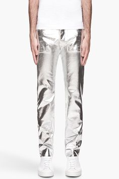 MAISON MARTIN MARGIELA Metallic silver painted jeans