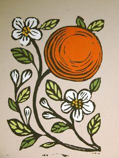 Orange and Blossoms Block Print handcolored w/gouache. Giardino. $36.00, via Etsy.