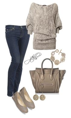 """56"" by jtells ❤ liked on Polyvore featuring 7 For All Mankind, Saks Fifth Avenue, CÉLINE, Carolee and Roberto Marroni"