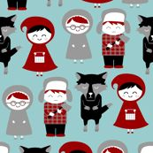 Red riding hood and friends by Bubbledog at spoonflower.com