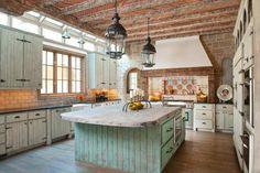 Wide Kitchen in Rustic Design with Vintage Kitchen Island under Dark Metal…