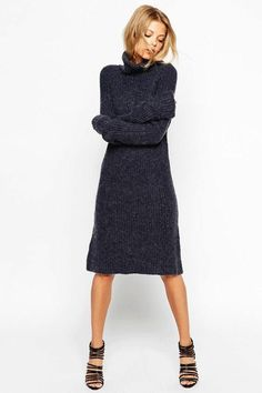 Browse online for the newest ASOS Swing Dress In Rib Knit With Turtleneck styles. Shop easier with ASOS' multiple payments and return options (Ts&Cs apply). Sweater Dress Outfit, Knit Dress, Dress Outfits, Fall Outfits, Sweater Dresses, Nice Dresses, Dresses With Sleeves, Frack, Asos