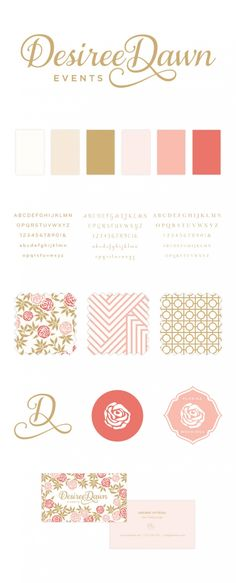 Desiree Dawn Brand Board - I love the coral and golden colors and the floral motif.