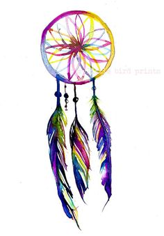 Dreamcatcher Watercolor Painting 4 x 6 print by MyLittleBirdPrints, $12.00