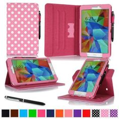 "rooCASE Samsung Galaxy Tab 4 8.0 SM-T330 Tablet Case - Dual View Multi-Angle Stand Cover with Pen Stylus for Tab4 8-Inch 8"", Polkadot Pink (Supports Auto Sleep/Wake)"