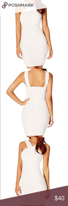 Criss Cross Bodycon Dress • Excellent condition, refer to photos. NWT • Color: White • Size: S (2/4) • Measurements:  • Material: 95% Polyester, 5% Spandex JustFab Dresses