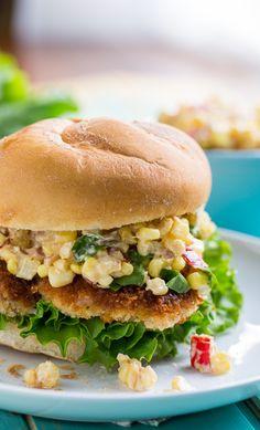 Indiana Pork Tenderloin Sandwich with Creamy Corn Relish