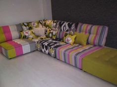 This Designers Guild combination inspired our spring 2013 display of low seating / sofa bedding.