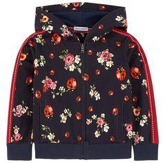 Flower-printed zip hoodie