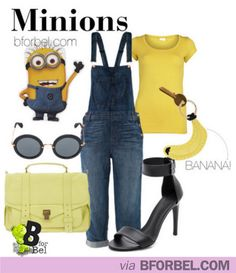 Clothes inspired by minions. I'm not that much into fashion, but I would so wear this! (Minus the heels. I would break every bone in my body if I tried to walk in heels.
