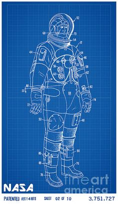 1967 nasa astronaut ventilated space suit patent art in white with 1973 nasa astronaut space suit patent art in white with blue graph paper background malvernweather Image collections