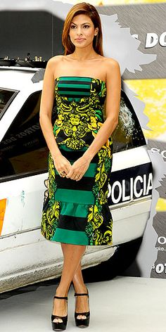 Who made Eva Mendes' black shoes and yellow and green strapless dress that she wore in Madrid?