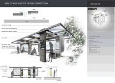 Bus stop competition by tarek abou dib Urban Furniture, Street Furniture, Bus Stop Design, Parque Linear, Bus Shelters, Shelter Design, Bus Terminal, Bus Station, Design Competitions
