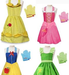 disney princess aprons...I need to do this...the girls would love!