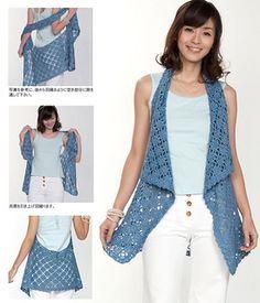 Front Draped Gilet: FREE crochet pattern by Pierrot
