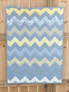 Gray Yellow and White Chevron Baby Quilt by ErinLynnDesigns, $85.00
