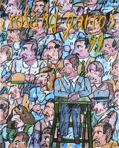 1999.L'affiche de l'édition 1999 de Roland Garros est signée Antonio Segui, peintre argentin dont les œuvres rappellent l'esthétisme de la bande dessinée. © Antonio Segui - Galerie Lelong - FFT