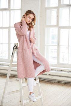 Pink longline knit cardigan / Totti Knitwear / www.totti-shop.ru ...
