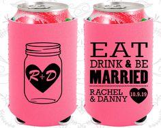 Eat Drink and Be Married, Neoprene Wedding, Mason Jar Wedding, Monogram, Neoprene Wedding Favors (17)