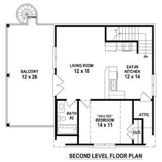 Second Floor Plan of Garage Plan 44908