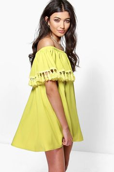 Niyati Tassel Trim Off The Shoulder Shift Dress | Boohoo