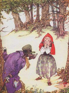 Little Red Ridding Hood Little Red Ridding Hood, Red Riding Hood, Children's Book Illustration, Illustrations, Werewolf Vs Vampire, Famous Fairies, Big Bad Wolf, Vintage Nursery, Fairytale Art
