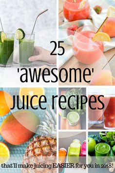 A recipe round up post that includes 25 awesome and simple juice recipes that'll make juicing easier in Some recipes don't even require a juicer and can be easily done using a blender. Recipes 25 Awesome And Simple Juice Recipes For 2018 Best Juicing Recipes, Juice Cleanse Recipes, Detox Juice Cleanse, Healthy Juice Recipes, Juicer Recipes, Blender Recipes, Healthy Juices, Detox Juices, Detox Recipes