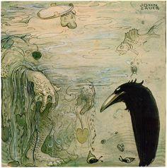 """John Bauer, illustration from """"Pojken och Tomtemössan"""" by Vilhälm Nordin, from """"Bland Tomtar och Troll"""" 1910."""