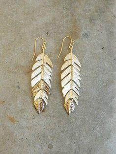 Golden Feather Earrings