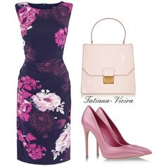 """Purple and pink combination on simple style dress with flower patern. #Mum of the #Bride or Groom would look very chick in these.""""056"""" by tatiana-vieira on Polyvore"""