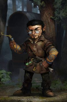 m Gnome Warlock Leather Armor Potion Wagon Traveler Potion maker merchant road Mixed forest lg Fantasy Races, Fantasy Rpg, Medieval Fantasy, Dungeons And Dragons Characters, Dnd Characters, Fantasy Characters, Fictional Characters, Goblin, Fantasy Portraits