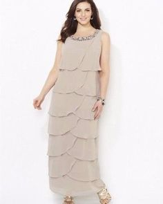 CATHERINES MELODIC MEMORIES DRESS - TAN - PLUS SIZE 32W #Catherines #Maxi #Formal