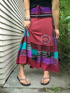 Eco long boho Skirt , patchwork skirt, mandala skirt, flow skirt, hippy skirt, festival syle, boho, hippy masa, zasra