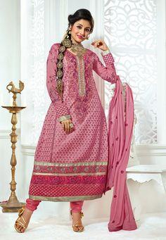 Pink Color Georgette-Santoon Designer Anarkali Suit With Chiffon Dupatta