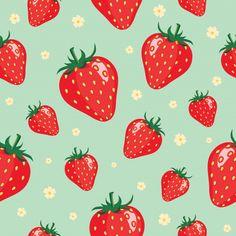 Strawberry pattern background Premium Ve. Cute Patterns Wallpaper, Background Patterns, Vector Background, Phone Wallpaper Boho, Strawberry Background, Apple Watch Wallpaper, Vintage Typography, Vintage Logos, Retro Logos