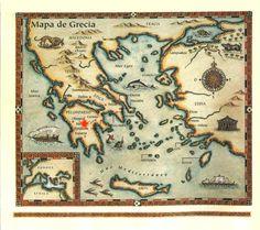 Mapa antigo da Grecia: Micenas como centro da civilização.