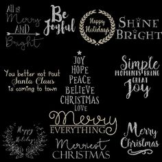 Silver glitter Christmas cardmaking titles, digital clipart for creating Christmas photocards, Christmas planners, scrapbook layouts and more. All png titles can be re-sized and the black tiltles are easy to re-color.