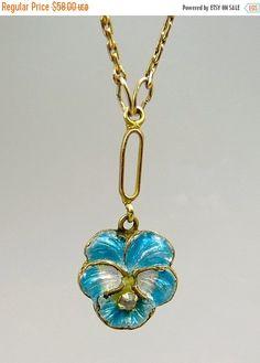 ❘❘❙❙❚❚ ON SALE ❚❚❙❙❘❘     Art Nouveau 10K Gold Enamel Pansy Flower Pendant Elegant, Dainty Pansy Flower Pendant Art Nouveau 10K Gold With Blue & White