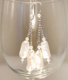 Long Pearl Earrings Biwa Stick Pearl Bridal by KapKaDesign on Etsy, $59.00