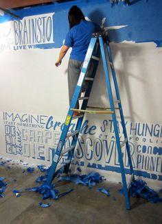 painters tape. hand-cut typographic wall. Erin Scott, designer.