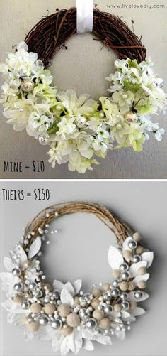Horchow Inspired DIY Spring Flower Wreath - Easy Craft Anyone Can Do! | wreath | flowers | white flowers | spring | spring decor | flower wreath | burlap bow | diy spring decor | diy spring | diy spring crafts | the house candy | house candy