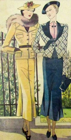 1937. Oh so chic jacket and skirt outfits.