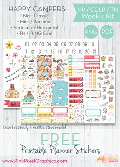 FREE Happy Campers free weekly sticker printable kit: Download your free planner print and cut. Lots of sizes to fit just about any planner. See more at www.pinkpixelgraphics.com