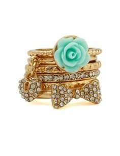 Blossom & Bow Stackable Ring Set: Charlotte Russe